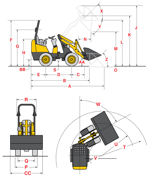 Gehl 140 2-Post Articulated Loader Specifications Diagram