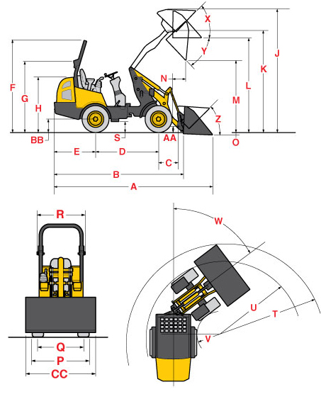 Gehl 340 Articulated Loader Specifications Diagram