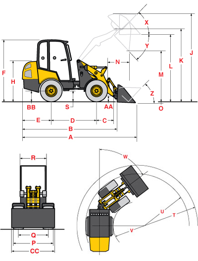 Gehl 540 Articulated Loader Specifications Diagram