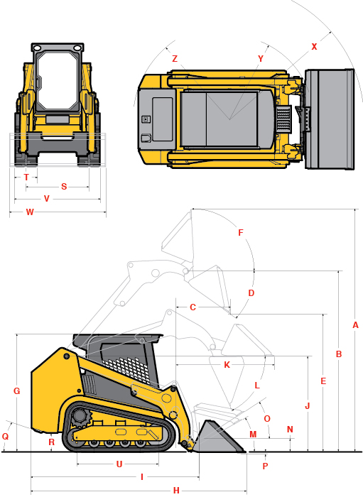 Gehl Compact Track Loader RT215 Specifications Diagram