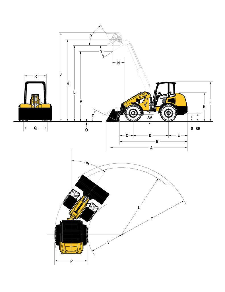Gehl T750 Articulated Loader Specifications Diagram
