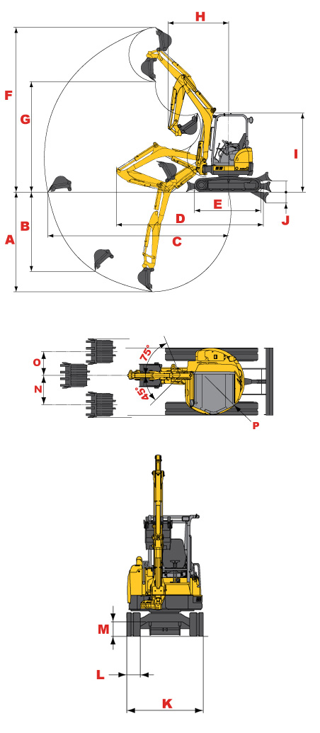 Gehl Z35 GEN:2 Compact Excavator Specifications Diagram