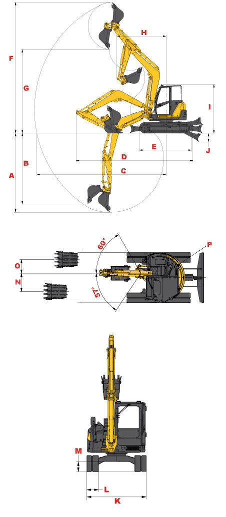 Gehl Z80 Compact Excavator Specifications Diagram